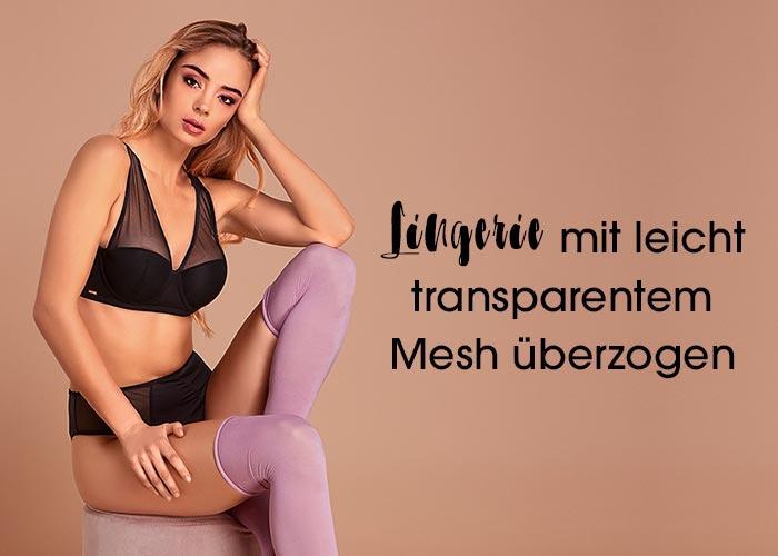 Lingerie mit transparentem Mesh